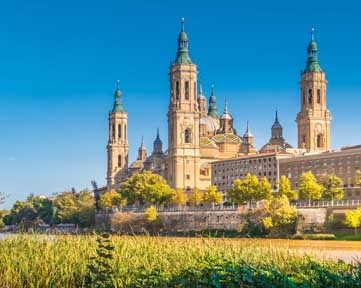 The Cathedral-Basilica of Our Lady of the Pillar, Zaragoza (Saragossa) the capital city of the Zaragoza province and of the autonomous community of Aragon, Spain. It lies by the Ebro river and its tributaries, the Huerva and the Gállego, roughly in t